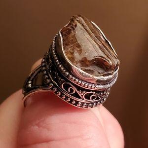 New Polished Raw Tourmaline 925 Silver Ring